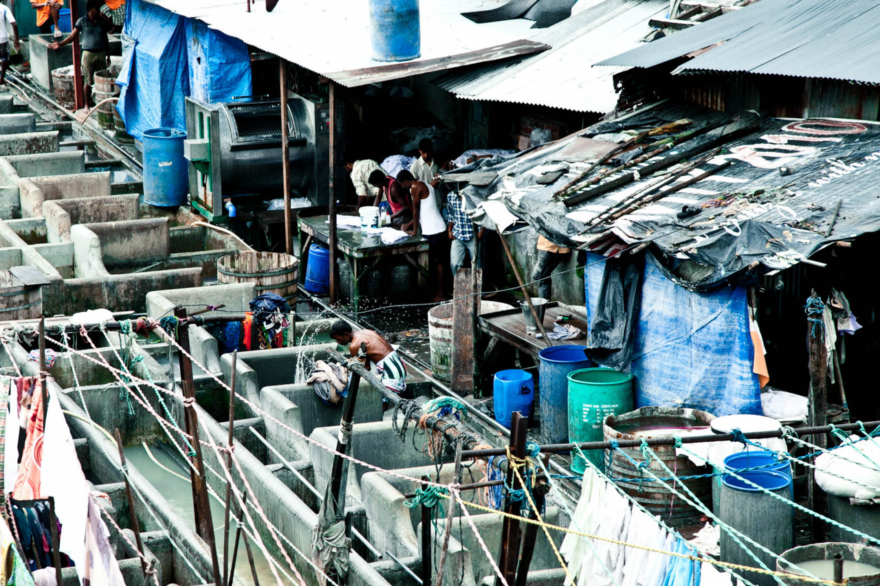Washerman in Dhobi Ghat.