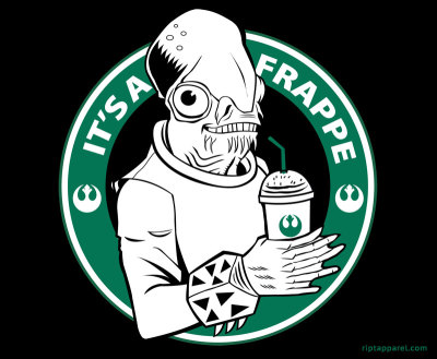 justinrampage:  It's not a trap, it's a frappe! Starbucks and Star Wars gets mixed in the same drink thanks to Dave Lentz. Shirt on sale today only (9/15) at RIPT for $10. It's A Frappe by Dave Lentz (Blog) (Facebook) (Twitter) Via: gamefreaksnz
