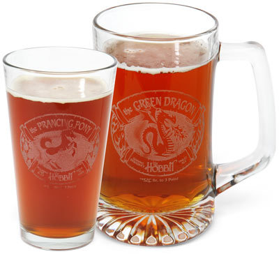 "thedrunkenmoogle:  The Prancing Pony Pint Glass and The Green Dragon Stein (Lord of the Rings Glassware)ThinkGeek.com has all the Middle Ear glassware you need.  $29.99 will get you two Prancing Pony or Green Dragon pint glasses or steins. Lord of the Rings Glassware - $29.99 on Think Geek ""It comes in pints? I'm getting one."" -Peregrin 'Pippin' Took"