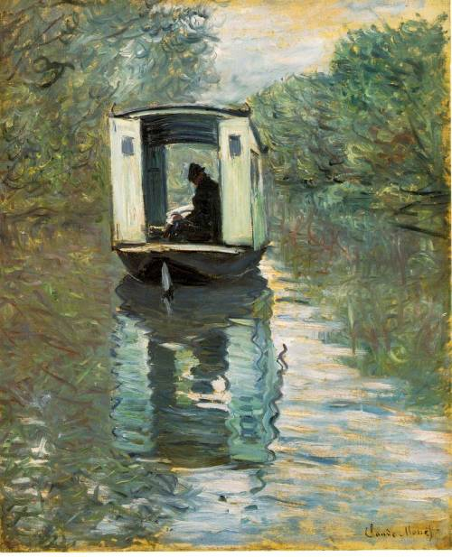 orage:  Claude Monet - Le bateau atelier (The Boat Studio)  This is in the Barnes Foundation.  I love this painting.