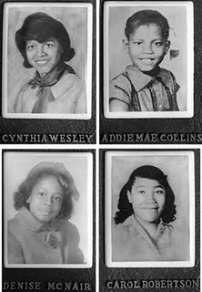 tobey:  afrocana:    ON THIS DAY On Sept. 15, 1963, four black girls were killed when a bomb went off during Sunday services at a Baptist church in Birmingham, Alabama, in the deadliest act of the civil rights era. (via NYTimes)