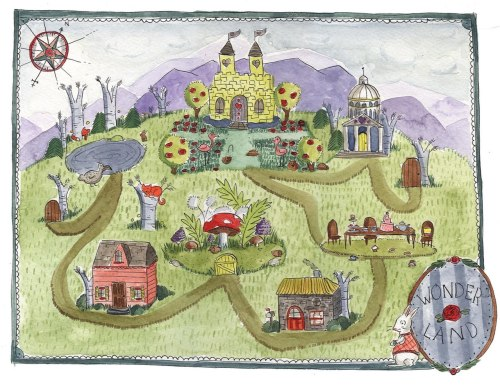 Here's a cute hand-drawn map of Wonderland! (Source: http://calamityafoot.blogspot.com)