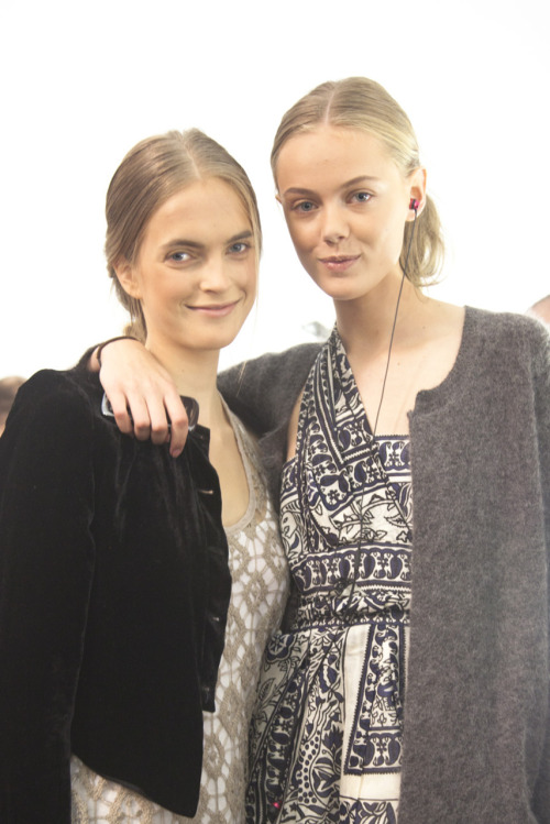 Mirte Maas @ Women, Frida Gustavsson @ IMG Backstage at @michaelkors Right: Anna Sui dress, @AcneOnline jacket