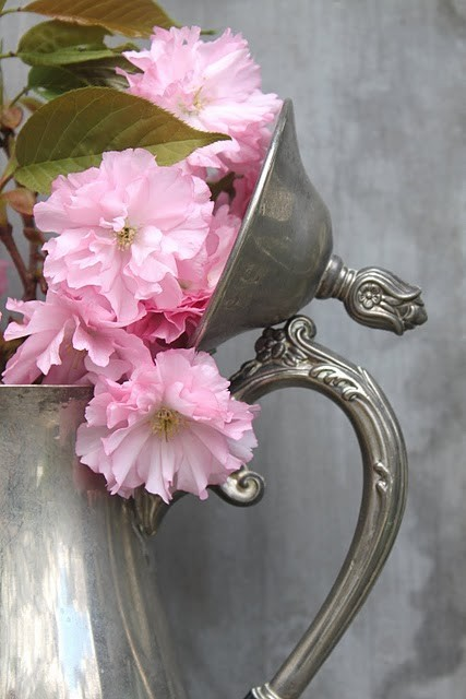 bouquet in silver teapot