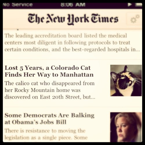 Seriously NY Times Reader? Top News? (Taken with Instagram at Sipping the cat kool aid)