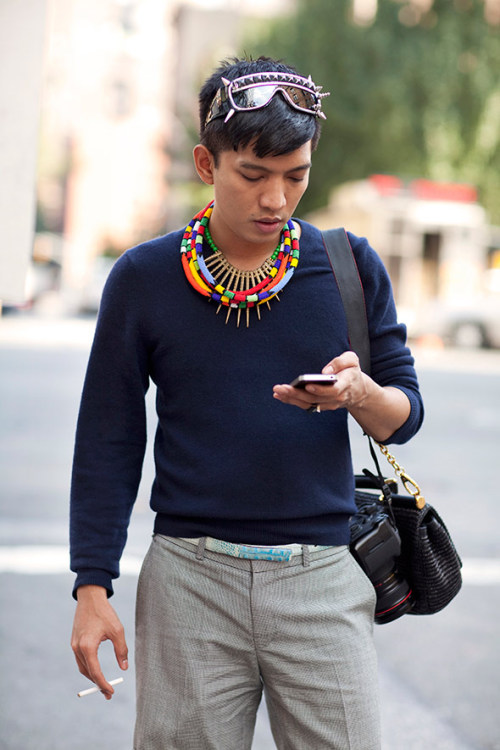 "nicetrybro:  thedandygentleman:  Bryan Boy (via The Sartorialist) His style knows no limits  ""Learn to limit yourself, to content yourself with some definite work; dare to be what you are and learn to resign with a good grace all that you are not; and to believe in your own individuality."" - Henri Frederic Amiel What Henri meant, Bryan Boy, is that you should slow down and stop getting ahead of yourself.  The fact that your style ""knows no limits"" is not a testament to your individuality, rather it's evidence that you have no fucking idea who you really are—just floating through life, day by day, one ridiculous outfit to the next.  HTFH."