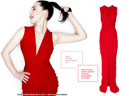 For Katie's cover shoot with Irish Tatler, Katie wore this Alexander McQueen gown of crepe-jersey with a knot-front.Purchase:Dress: 1