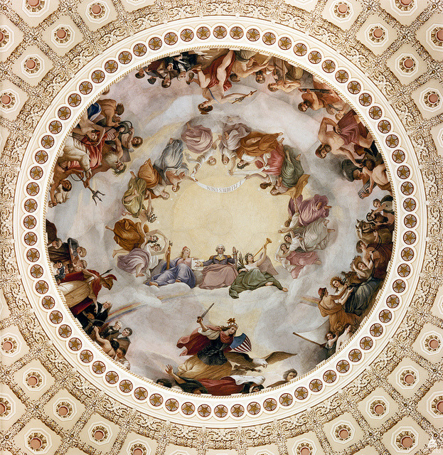 Image description: This painting, the Apotheosis of Washington, is in the center of the U.S. Capitol dome. It was painted in the true fresco technique by Constantino Brumidi in 1865. Image courtesy of the Architect of the Capitol