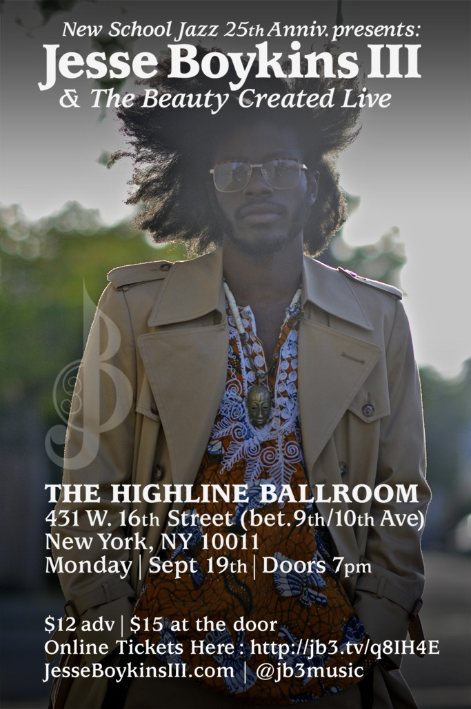 WE IN THERE! theloveapp:  NYC SEPT 19 : Jesse Boykins III & The Beauty Created LIVE @ The Highline Ballroom $12 Tickets Here : http://jb3.tv/q8IH4E (spread love)