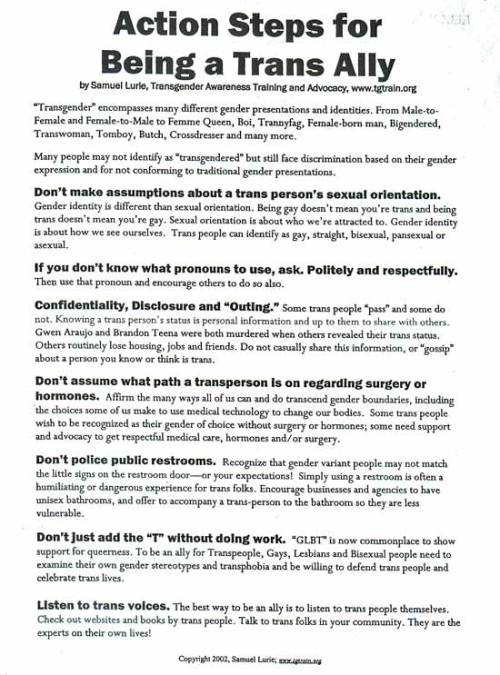 thenewwomensmovement:  Action Steps for Being a Trans Ally.