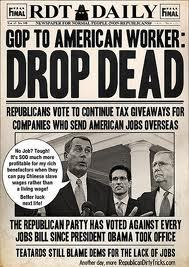 "Shameless Opposition to the Jobs Bill Reveals The GOP's Deep Hatred of the Working Class By Carl Davidson Keep On Keepin' OnIf you want to have your class consciousness raised a few notches, all you have to do over the next few weeks is listen to the Republicans in Congress offer up their shameless commentary rejecting President's Obama's jobs bill.This week's doozy came from Texas Congressman Louie Gohmert, who was outraged that capitalists were being restricted from discriminating in hiring the unemployed, in favor of only hiring people who already had jobs elsewhere. I kid you not. Here's the quote:""We're adding in this bill a new protected class called 'unemployed,'"" Gohmert declared in the House Sept. 13, 2011. ""I think this will help trial lawyers who are not having enough work. We heard from our friends across the aisle, 14 million people out of work — that's 14 million new clients.""One hardly knows were to begin.  First, the Jobs Bill does no such thing as creating a 'new protected class.' It only curbs a wrongly discriminatory practice. Second, so what if it did? Americans who uphold the Constitution, the 14th Amendment' equal protection clause, and the expansion of democracy and the franchise generally, will see the creation of 'protected classes' as hard-won progressive steps forward from the times of the Divine Right of Kings. Third, if Gohmert had any first-hand knowledge of the unemployed, he'd know they usually can't afford lawyers, especially when the courts are stacked against them. Fourth, to create even more confusion, Gohmert raced to the House clerk to submit his own 'Jobs Bill' before Obama's, but with a similar name. Its content was a hastily scribbled two-page screed consisting of nothing but cuts in corporate taxes.What's really going on here is becoming clearer every day. The GOP cares about one thing: destroying Obama's presidency regardless of the cost. They don't even care if its hurts capitalism's own interests briefly, not to mention damaging the well being of everyone else.  Luckily, Obama is finally calling them out in public-although far too politely for my taste.The irony will likely emerge if and when they ever do take Obama down. I'd bet good money that a good number of the GOP bigwigs would then turn on a dime and support many of the same measures they're now opposing.But most of them, especially the far right, would still likely press on with their real aim, a full-throated neoliberal reactionary thrust that repeals the Great Society's Medicaid and Medicare, the New Deal's Social Security and Wagner Act, and every progressive measure in between.  Their idea of making the U.S labor market 'competitive' and U.S. business 'confident' is to make the whole country more like Texas, with its record volume of minimum wage work and poverty, and then Texas more like Mexico-the race to the bottom. They're not happy with 12% unionization; they want zero percent, where all of us are defenseless and completely under the thumbs of our 'betters'.In brief, prepare for more wars and greater austerity.If you think I'm exaggerating, over the next months observe how the national GOP is trying to rig the 2012 elections in Pennsylvania, Michigan and a few other big states. Our Electoral College system is bad enough, but they are going to 'reform' it to make it worse by attaching electoral votes to congressional districts, rather than statewide popular majorities. This would mean Obama could win the popular vote statewide, but the majority of electoral votes would still go to the GOP. Add that to their new 'depress the vote' requirements involving picture IDs, which are aimed at the poor and the elderly, and you'll see their fear and hatred of the working class. We've always had government with undue advantages for the rich. But just watch them in this round as they go all out to make it even more so. We have to call it out for what it really is, and put their schemes where the sun doesn't shine."