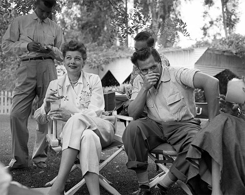 "Sept. 12, 1953: Actress Lucille Ball laughs as her husband, Desi Arnaz, contemplates an answer during a news conference about Ball's short association with the Communist Party in 1936.  ""We're lucky this happened to us in America, where newspapermen ask the questions,"" Desi said. ""In other countries they shoot first and ask the questions later.""  Continue reading about the news conference on Framework."