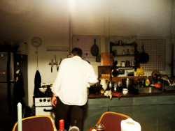 My Uncle Eric making morning coffee in the 'unconventional' kitchten.