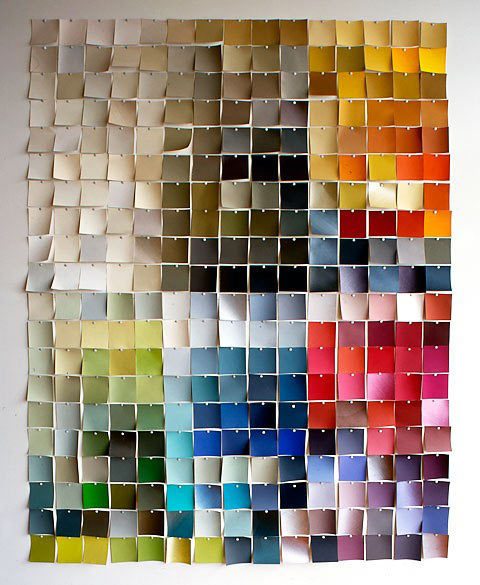 unembellishedthought:  start-with-c:  (via Use Paint Chips to Create Wall Art)  Such a clever and cheap way to jazz up a room!