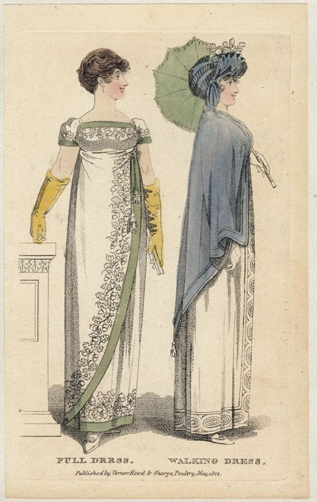 Lady's Musuem, May 1808. I reall like both of these gown, but the one on the left is incredibly beautiful!  The embroidery with the sage green banding is swoon-worthy!  And I luuuuuve the asymmetrical skirt.  That blue bonnet is pretty amazing, too…