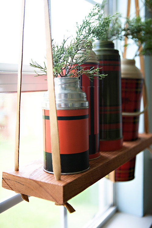 diy project: hanging vintage thermos display shelf | Design*Sponge