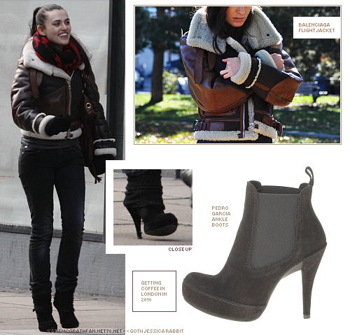 Katie wore ankle boots by Pedro Garcia and Balenciaga's leather flight jacket while getting coffee with Merlin co-star Joe Dempsie in London in January 2010.Purchase:Shoes: 1 | 2 | 3Jacket not available to purchase online.Shoes found with the help of Katie McGrath Fan (diary.ru).
