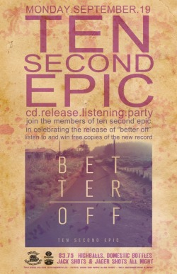 Hey Edmonton friends. Come help us celebrate the release of Better Off! This Monday At Filthy's on Whyte 10511 82 Avenue Northwest