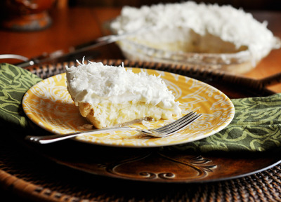 Lorie's Ultimate Coconut Cream Pie.Lorie from Mississippi Kitchen, has perfected the crust and uses 4 kinds of coconut in this yummy recipe. Looks delish yes?! Yes! Recipe link below photo