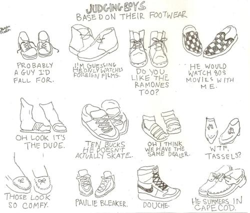 Judging boys by their shoes.
