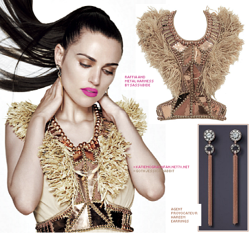 For Katie's InStyle photoshoot in February 2011, Katie modeled Sass&Bide's raffia and metal harness and Agent Provocateur's hareem earrings.Purchase:Earrings: 1Harness not available to purchase online.