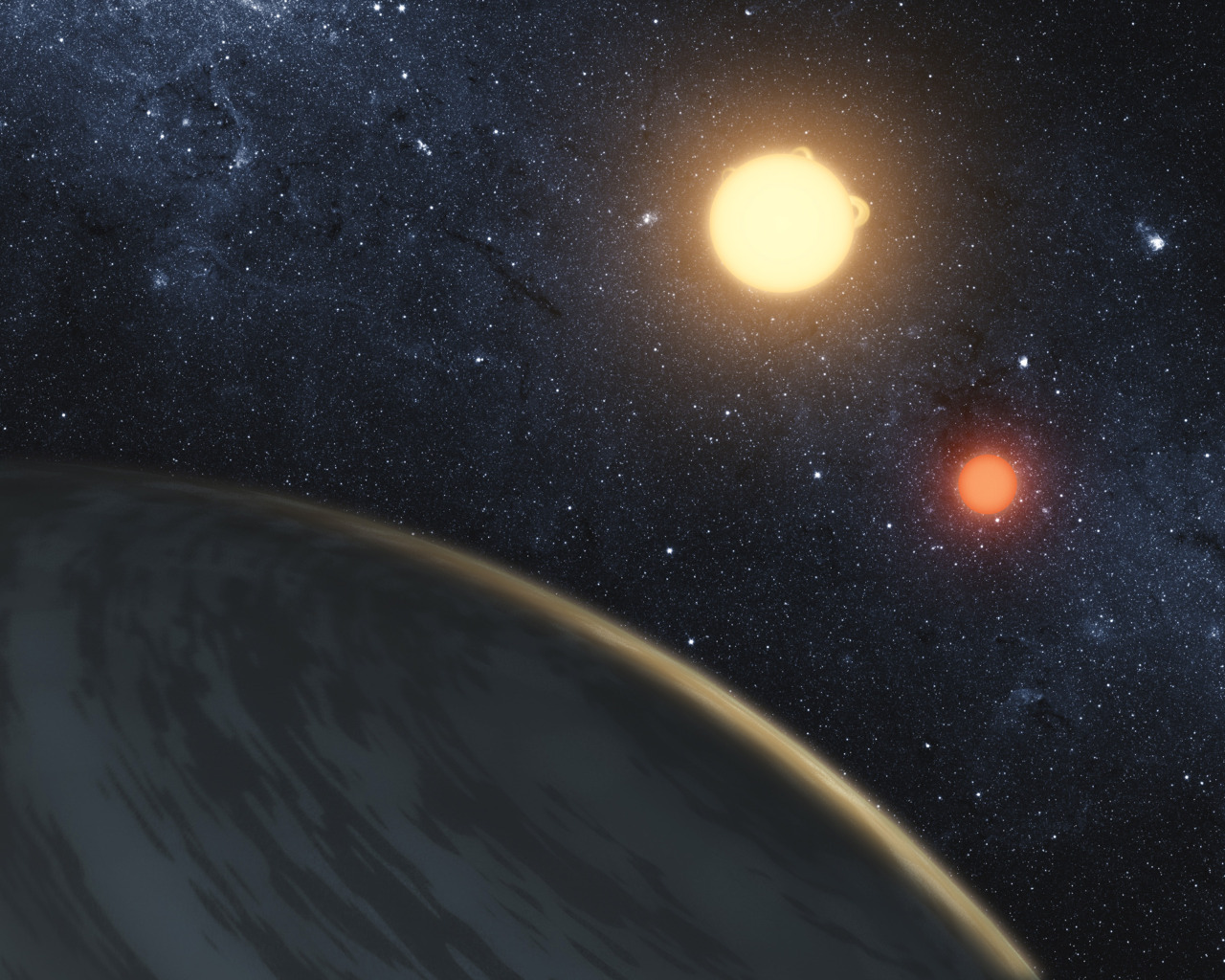 nationalpost:  Astronomers discover 'Star Wars planet' with two sunsAn astrological discovery that would make Luke Skywalker a little homesick is making waves this week — a faraway planet has been found to have two suns.A team of experts used the NASA Kepler space telescope to discover the planet, which orbits around two large stars — similar to Tatooine, the fictional home of Skywalker in the Star Wars films.In this case, however, the discovery doesn't get the Hollywood treatment in terms of a name.Its name is the far more prosaic Kepler-16b.