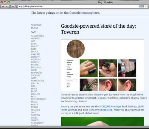 Toveren ♡'s Goodsie!  We were recently featured as the Goodsie-powered store of the day on their blog.