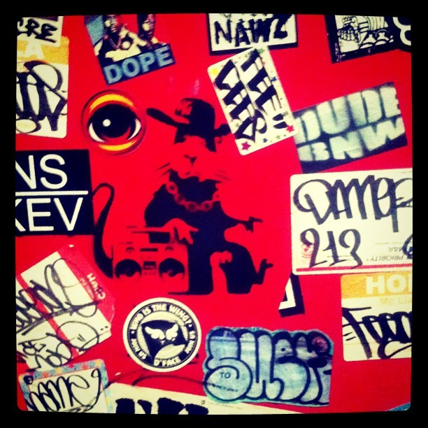 Stuck up sticker wall Miami #streetart #artist #Banksy #eyez @eyez #graffiti #art (Taken with instagram)