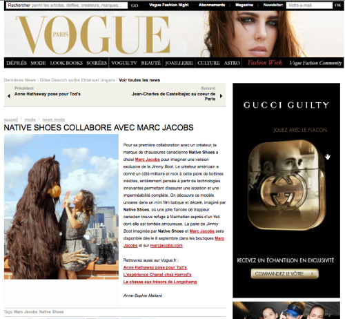 Vogue Paris talks about our latest clip we recently finished. Marc Jacobs for native shoes.