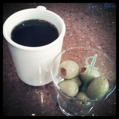 Yeah… I know… I'm gross… Whateves #snacks #coffee #olives  (Taken with Instagram at Flamingo Bowl)