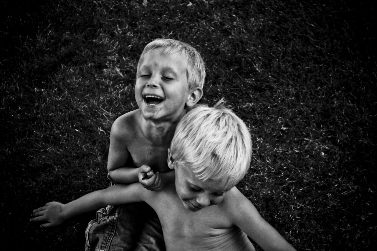 Little bros in b&w.