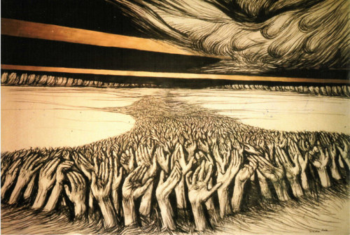 darksilenceinsuburbia:  Donald Pass. River of Hands. http://www.donaldpass.com/