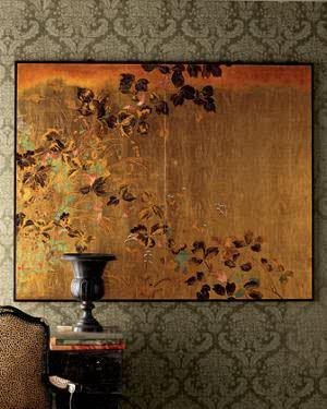 mulattogrey:  Home Wear: Asian Wall Art Neiman Marcus 'Floral Panels' A shimmering background of gold leaf makes this pair of wall panels especially impressive. Made of wood, painted by hand.