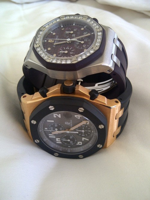 watchs:  His & hers Royal Oak Offshore. Pretty cool watches for a youthful couple.