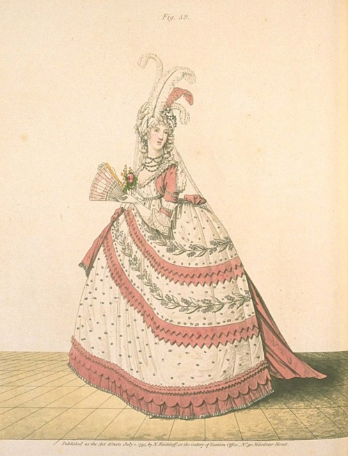 damesalamode:  Gallery of Fashion, July 1795.  A very lovely court dress!