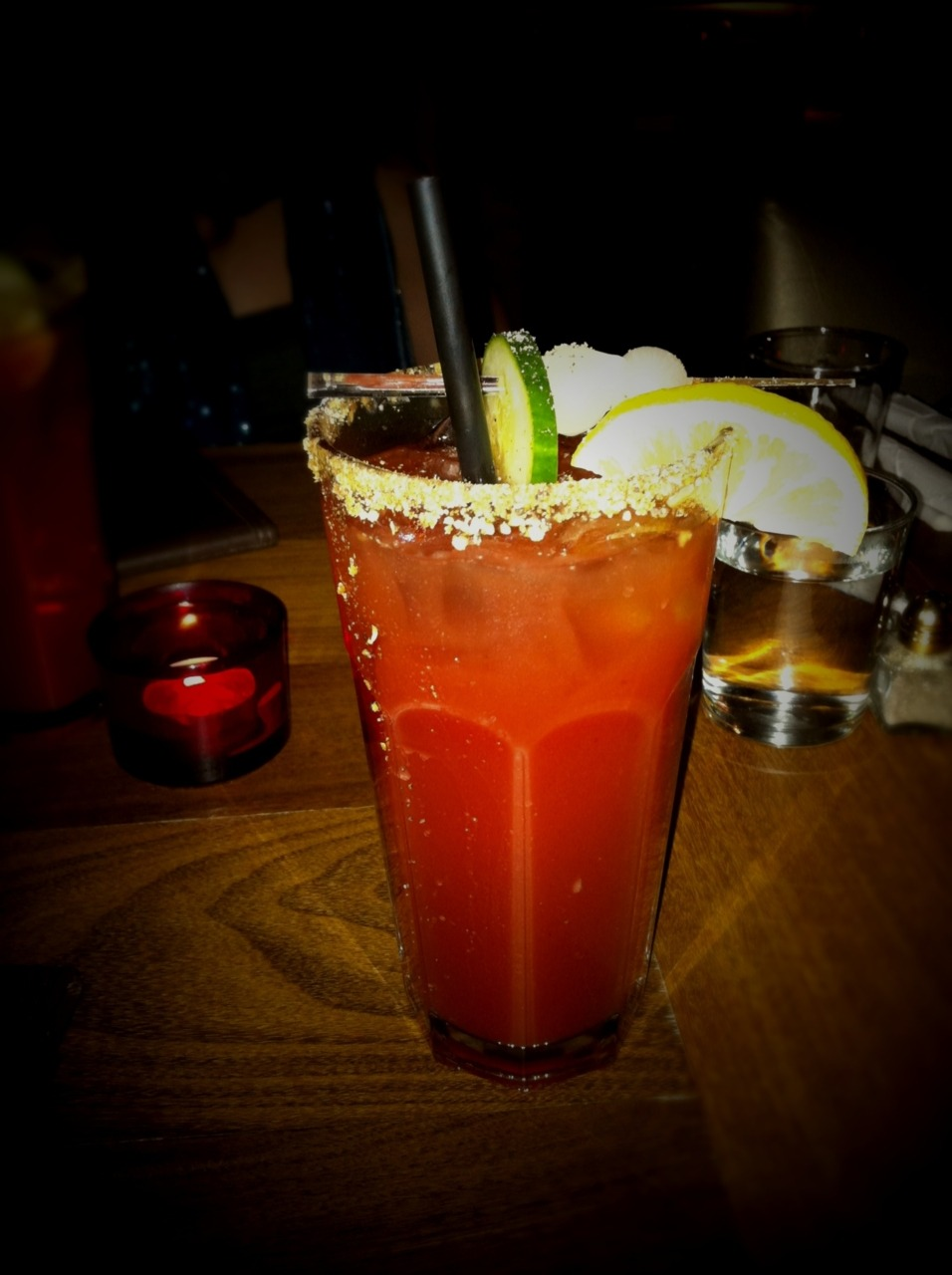 Bloody Caesar @ Bond Lounge Grill 101 Fairmount West,  Montreal 8.5/10 Notes: Oh. My. Oh. My. What a lovely thing. I've asked the bartender to give me a BC with twist. What she did and I totally dig it! She add some marinated onions, cucumber and lemon juice in a traditional mix. Quite tasty.