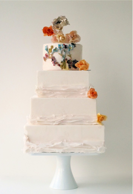 Love the touch of color on this Floral Ruffle Cake by Maggie Austin (they are all amazing!)