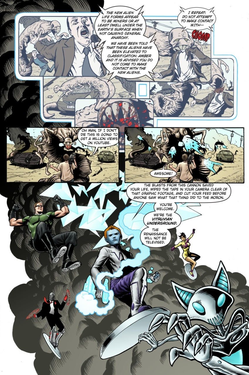 Page Ten of my webcomic: vitruvianunderground:    September 15th, 2011 - Issue One, Page Ten Written and colored by Ramon Villalobos Penciled, inked, and lettered by Craig Cermak You can read more at http://vitruvianunderground.com/craigcermak/webcomic.html You can support us here at our kickstarter page for this comic book, only 30 something hours left!!!! AHHH!!!: http://www.kickstarter.com/projects/1274668795/vitruvian-underground-first-issue You support with money, we give you lots of things, and our book gets printed!