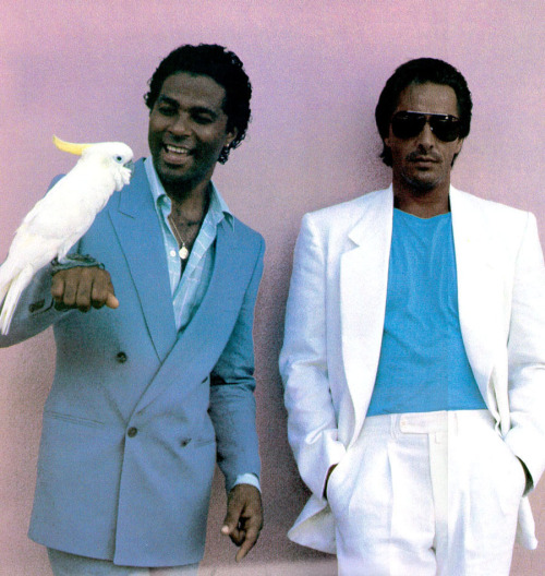 The coolest guys of the 80s - Rico Tubbs (Philip Michael Thomas) and Sonny Crockett (Don Johnson). I loved this tv show so much!