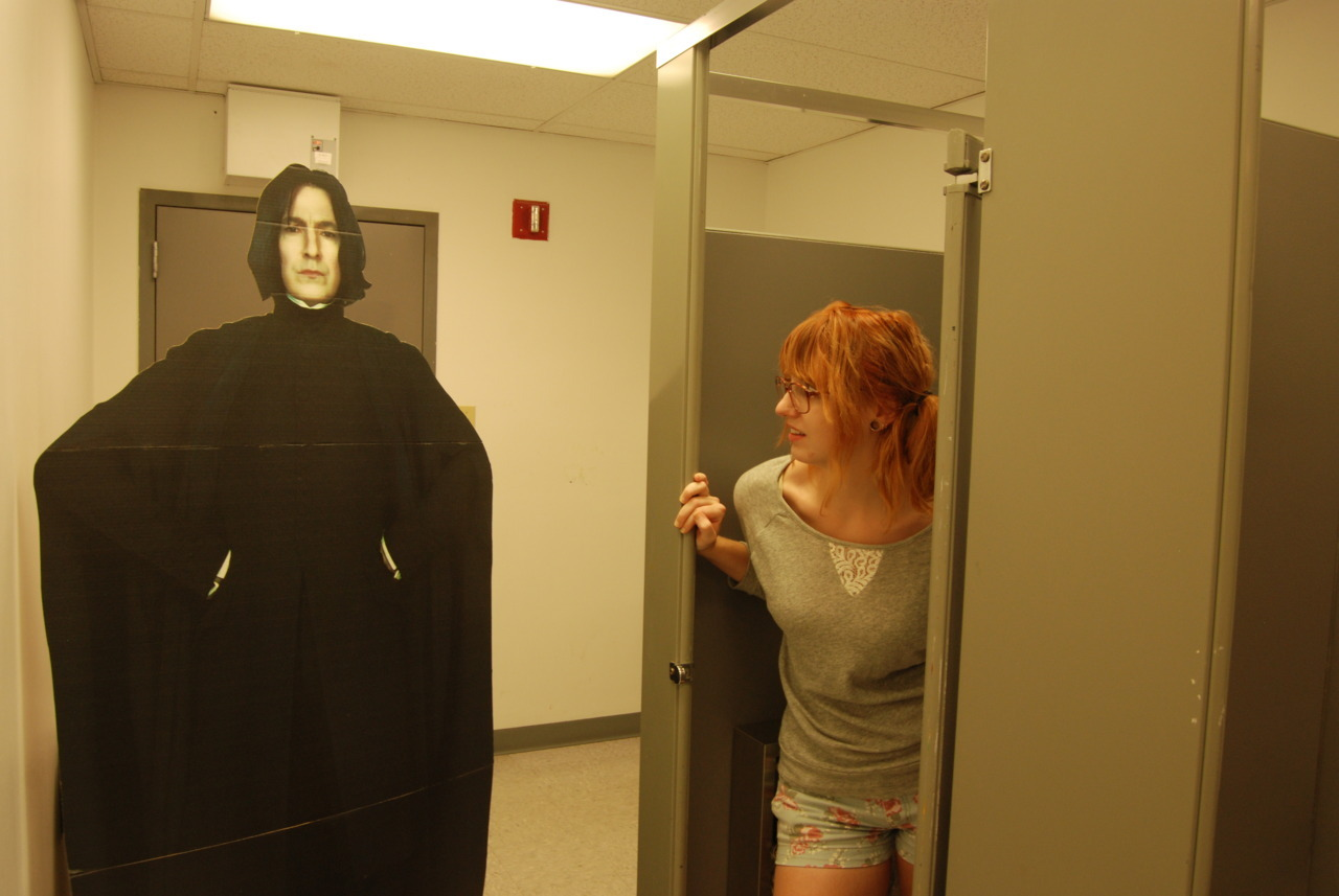 "Snape ""accidentally"" finds himself in the girl's lavatory."