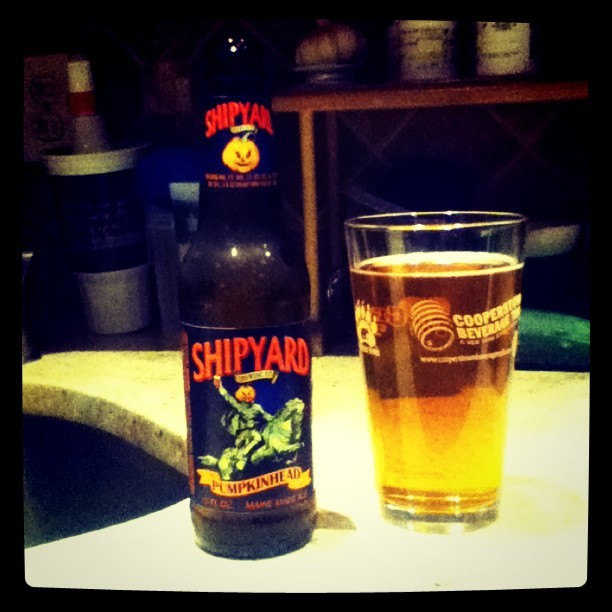A pumpkin beer pairs perfect on a cool breezy almost fall evening :) (Taken with instagram)
