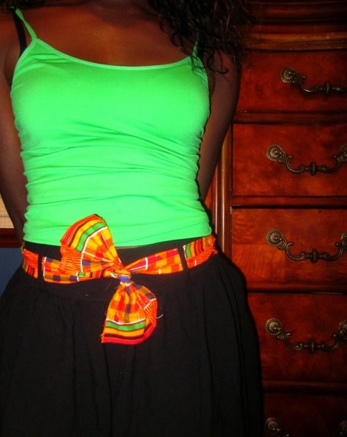 ungrantedwishes:  Kente cloth belt/bow/slash thing i made (: haha