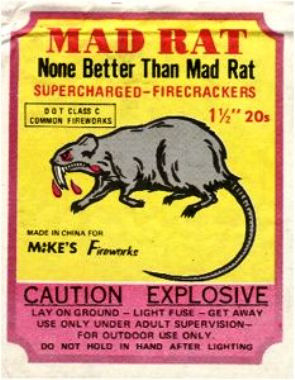 Mad Rat firecracker label, via Mr. Firecracker's photostream