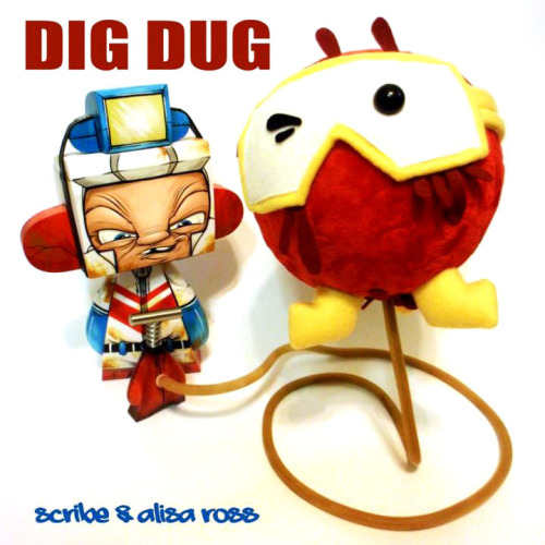 "albotas:  Daily Geekstomization: Dig Dug Mad*l Scribe and Alisa Ross did a bang-up job on this vinyl and plush combo for Gallery 1988's Old School Video Game Show. Scribe made the Dig Dug out of a 10"" MAD*l and the pump thingamajig out of a 5"" MAD*l and Allisa did the plush Pooka. Now pardon me while I go dust off my Atari. I have monsters to 'splode. (via Spanky Stokes) Check out the Daily Geekstomization Archives for more geeky custom toys!"