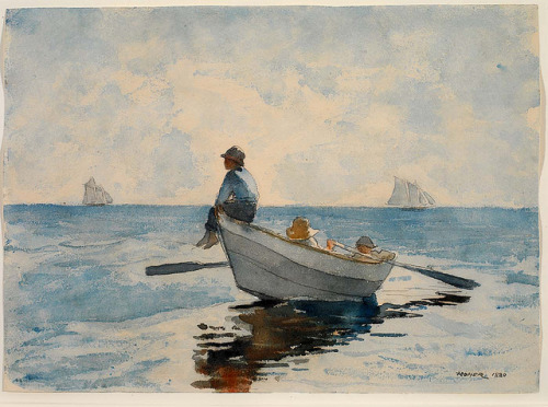 Winslow Homer - Boys in a Dory [1880] From the late 1850s until his death, Winslow Homer (Boston, Massachusetts, 1836 - Prout's Neck, Maine, 1910) produced a body of work distinguished by its thoughtful expression and its independence from artistic conventions. A man of multiple talents, Homer excelled equally in the arts of illustration, oil painting, and watercolour. Many of his works, depictions of children at play and in school, of farm girls attending to their work, hunters and their prey, have become classic images of nineteenth-century American life. Others speak to more universal themes such as the primal relationship of man to nature. [Watercolour and graphite on paper, 25.4 x 35.6 cm]