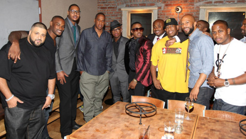anything-hiphop:  Nas celebrated his 38th birthday yesterday.   (Left to Right) Industry celebs attended his bash to show the god some love…  Khaled, Tyson Beckford, Carmelo Anthony, Jay-Z, Neyo, Steve Stoute, Premo, Common and AZ.