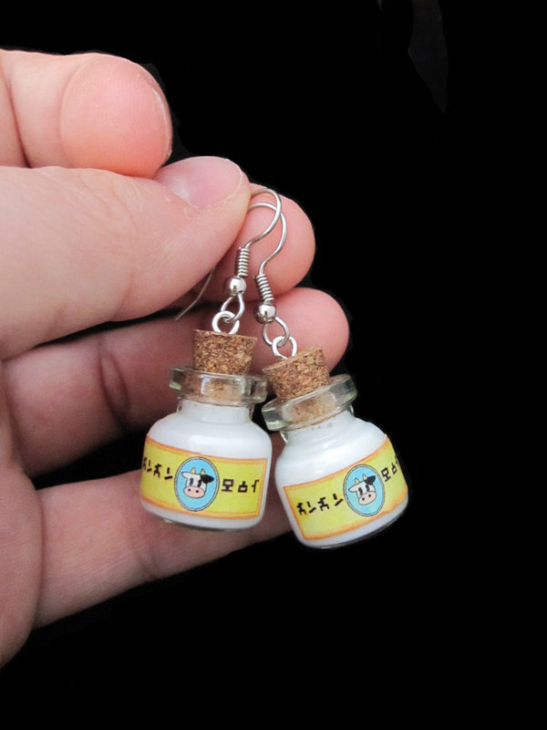 Lon Lon Milk Bottle Earrings by *egyptianruin