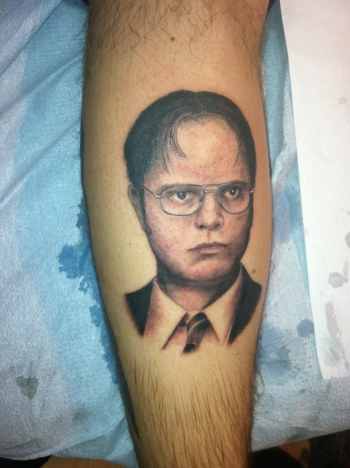 fuckyeahtattoos:  I don't have a lot of experience with vampires, but I have hunted werewolves. I shot one once, but by the time I got to it, it had turned back into my neighbor's dog.  -Dwight K. Schrute