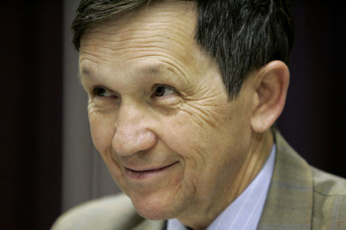 "Kucinich will run for re-election in newly-drawn district Why's Dennis Kucinich so happy? Because he's found a new congressional district! His old Ohio seat was recently redistricted out of existence, but he's found a potential new home in a redrawn district that includes his home city of Cleveland. There's just one catch: Rep. Mary Kaptur, who also got the short end of the redistricting stick, wants to run in the same district (that's the last time we'll use the word ""district"" in this post). Kaptur, the longest-serving female Democrat in the house, isn't looking forward to the primary. ""We're friends,"" Kaptur said. ""This is hard for us.""  source Follow ShortFormBlog"
