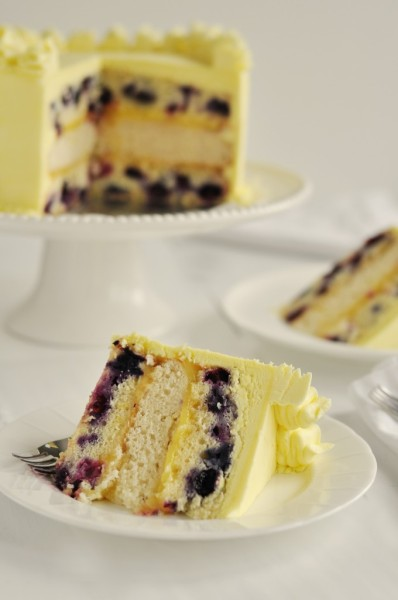Triple Lemon-Blueberry Layer Cake.The lemon in this blueberry cake is simple and subtle with the addition of lemon zest, lemon extract, and lemon juice, which pairs well with fresh blueberries.  Recipe link below photo